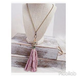"""""""Hues of Pink"""" Sari Silk Bullet Casing Necklace"""